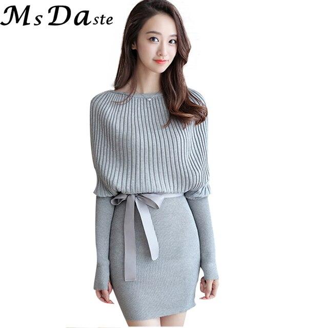 9713cf348ac 2019 Long pull Robe pulls hiver Sexy moulante tricoté pull tunique manches  chauve-souris tricots