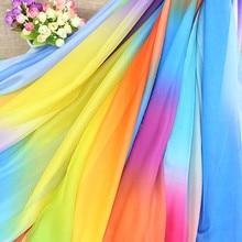Градиент шифоновая ткань шифон сценический костюм ткань переход цвет ткань костюм Hanfu искусственный шелковый шарф Декоративные DIY