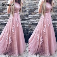 Genuo Women Evening Party Dress 2018 Sleeveless O neck Sexy Long Dress Women Elegant Pink Lace Dress Summer Maxi Dress S 2XL