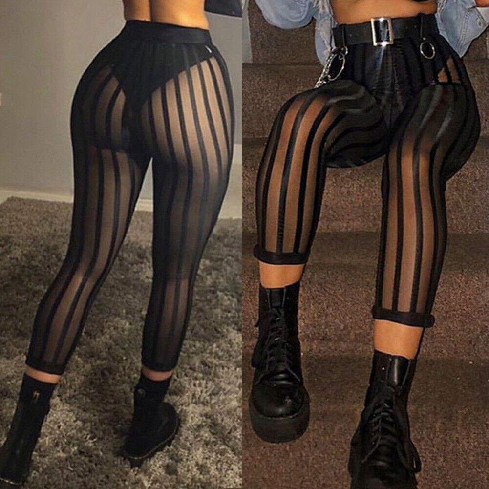 Sexy Ladies Women Mesh Sheer See Through Striped Leggings Pants High Waist Bodycon Black Slim Perspective Legging Pants Trousers