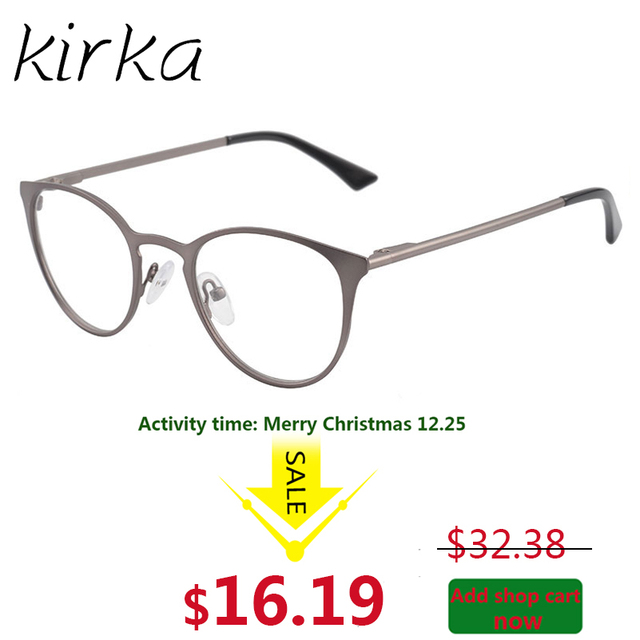 kirka gun color metal women stainless steel eyeglasses optical frame ladies round cat eye glasses frame