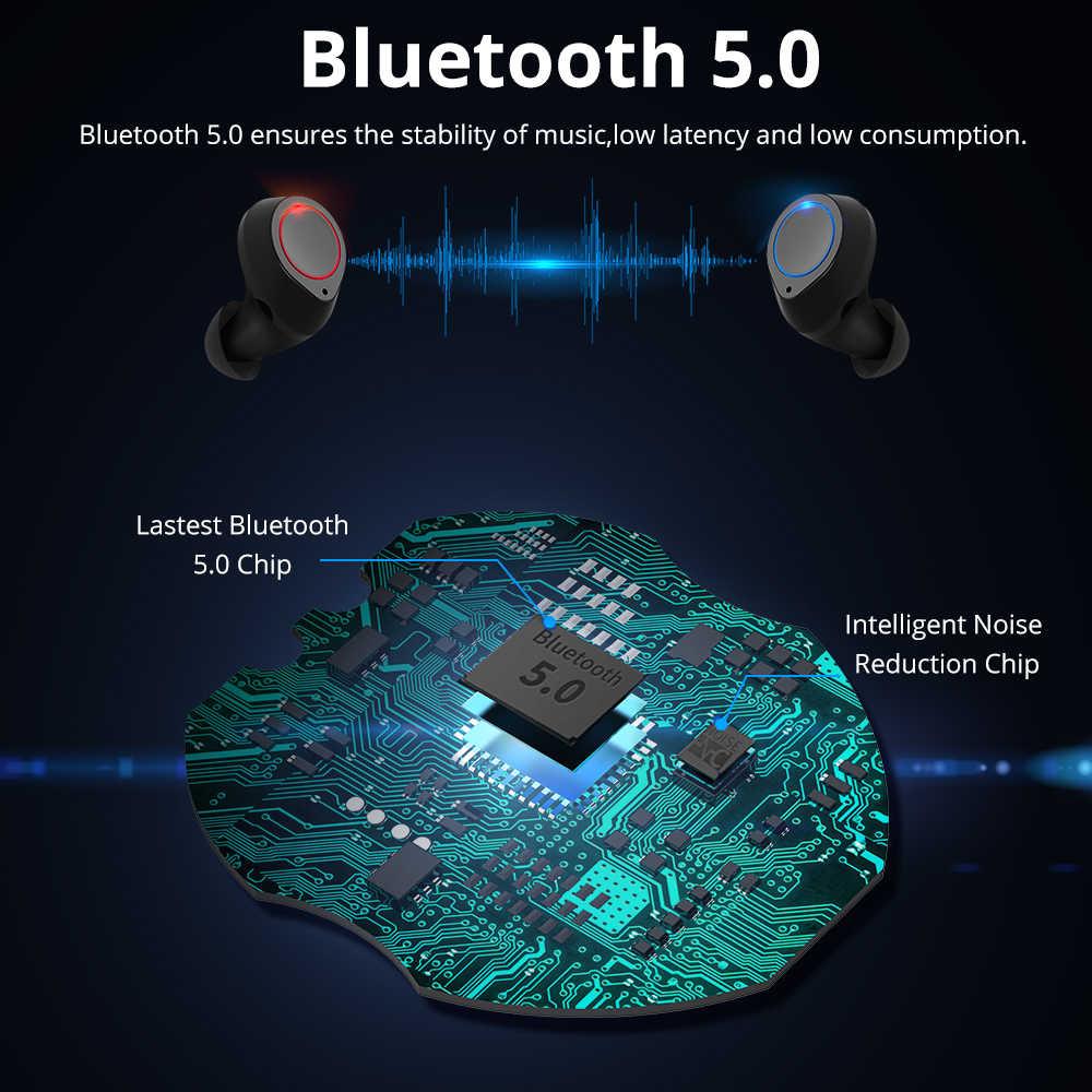 Langsdom TWS Bluetooth ヘッドセット 5.0 ワイヤレスヘッドフォン Xiaomi イヤホンの Bluetooth イヤホンステレオ Eabuds とマイク