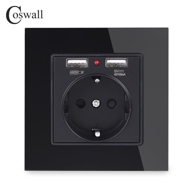 Panel de cristal de Coswall doble puerto de carga USB 2.1A adaptador de cargador de pared indicador LED 16A Enchufe europeo toma de corriente negro color