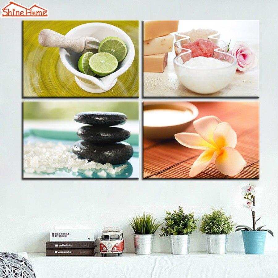 Shinehome 4pcs Wall Art Canvas Painting Printing Spa Yoga