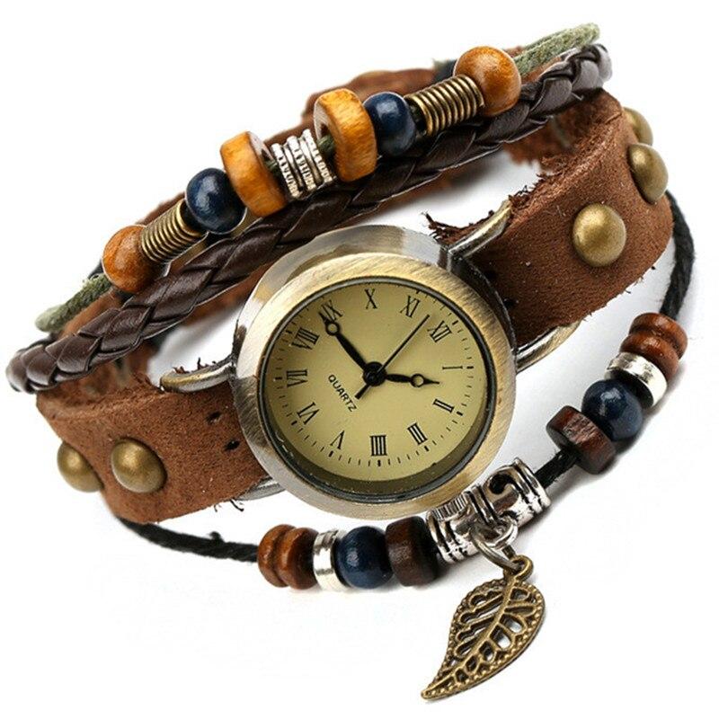 Nuevo Gran venta mujeres niñas moda larga correa de cuero genuino reloj de pulsera Vintage estilo Punk cuarzo analógico Casual reloj de pulsera