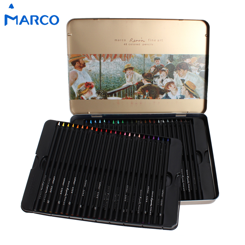 Marco raffine 24 36 48Colors Black Wood Non-toxic Oily Color Pencils Lapis De Cor Profissional Colored Pencil for Art Supplies marco raffine fine art colored pencils 24 36 48 colors drawing sketches mitsubishi colour pencil for school supplies