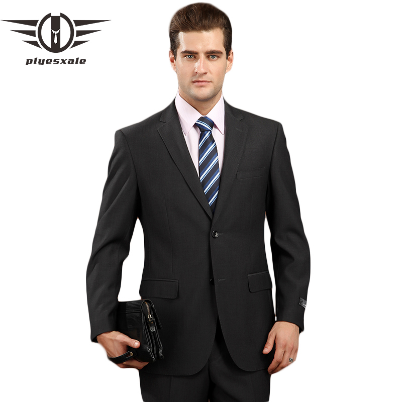Plyesxale Men Suit 2018 Latest Coat Pant Designs Brand clothing Luxury Mens Suits Wedding Groom Black Gray Mens Formal Wear Q81-in Suits from Men's Clothing    1
