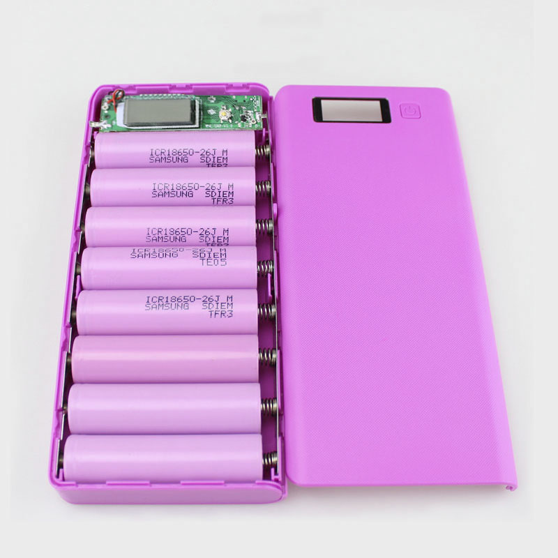 Power Bank DIY <font><b>18650</b></font> Box Case DIY 8x18650 Battery Holder Portable LCD Display Dual USB Port <font><b>Powerbank</b></font> Case Battery Box image