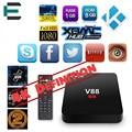 Rockchip 3229 Quad Core 4 K kodi 16.1 V88 smart TV box android 5.1 reproductor multimedia 8G EMMC 2.0 HDMI IPTV set top box Europeo XBMC