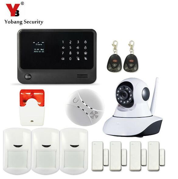 YobangSecurity Touch Keypad Home GSM WIFI Alarm System G90B Android IOS APP Control IP Camera Smoke/PIR/Door Sensor Indoor Siren yobangsecurity touch keypad wifi gsm gprs home security voice burglar alarm ip camera smoke detector door pir motion sensor