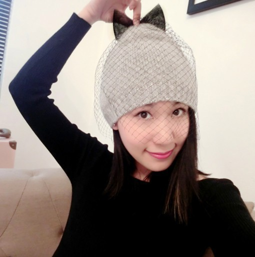 2017 Animal Casual Beanie New Arrival Top Fashion Adult Winter Hat Women Hat Bow Gauze Liger Veil Lob Knit Beanies Hat