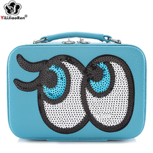 Cute Paillette Makeup Case Lovely Eyes Cosmetic Bag Brand Leather Make Up Box Portable Travel Makeup Organizer Bag Suitcase Sac new arrive hot 2pc set portable jewelry box make up organizer travel makeup cosmetic organizer container suitcase cosmetic case