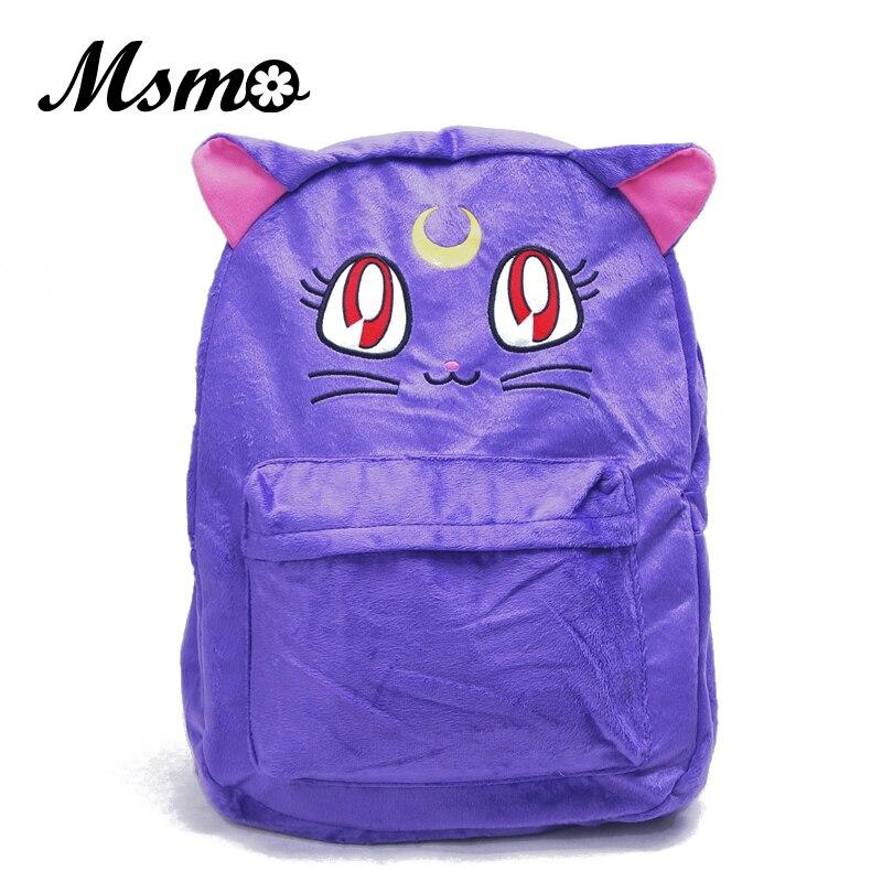 MSMO High Capacity Sailor Moon Backpack Harajuku Cartoon Anime Luna Cat Double Shoulder Purple White Collectible