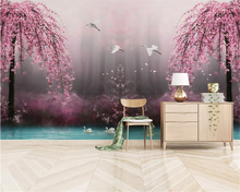 beibehang Custom classic wall paper beautiful dream pink cherry swan lake landscape TV background papel de parede 3d wallpaper