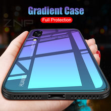 ZNP Fashion Gradient Glass Protective Case For Huawei P20 Colorful Back Glass Full Cover For Huawei P20 Pro P20 Lite Phone Case(China)