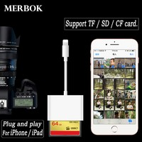 3 in 1 Micro SD TF CF Memory Card Reader For iPhone iPad Lightning Card Reader Adapter Trail Digital Camera Viewer Game Machine