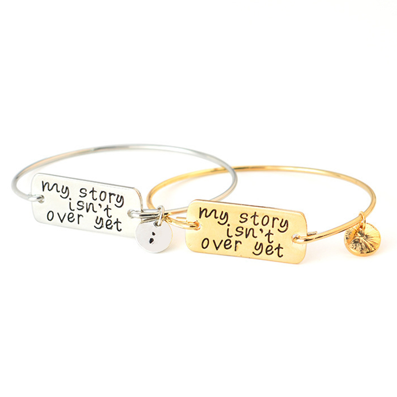Hot Women Lady Letter Carve Bracelet Jewery Gift Inspirational My Story Isn't Over Yet image