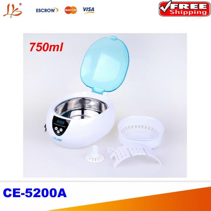CE-5200A Digital Ultrasonic cleaner cleaning machine Jewelry Glasses Watch CD DVD 50W 220V 750ml household mini digital ultrasonic cleaner 750ml 220v 50w for cd glasses watch jewelry