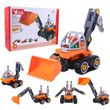 Children Educational Toys 5 In 1 Large Particle Building Figure Kit Concrete Car Assembling Toy for Kid Birthday Gift 2019