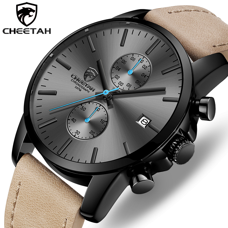 2019 Men Watch CHEETAH Brand Fashion Sports Quartz Watches Mens Leather Waterproof Chronograph Clock Business Relogio Masculino(China)