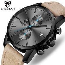 2020 erkekler İzle CHEETAH marka moda spor kuvars saatler erkek deri su geçirmez Chronograph saat iş Relogio Masculino