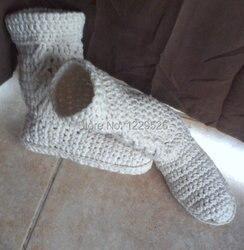 Gehaakte slipper laarzen, womens slippers, womens slipper laarzen, wit slipper laarzen, wit womens laarzen, geschenkideeën, kerstcadeaus