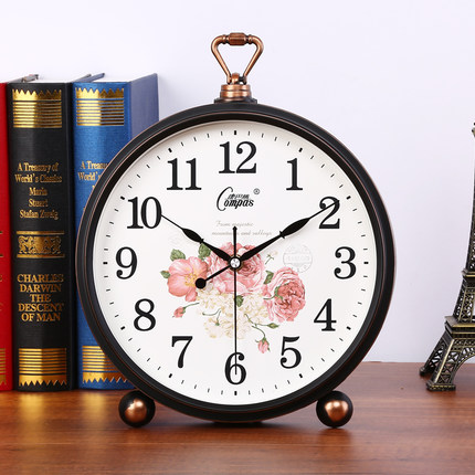 Living room large wall clock European retro table clock modern creative mute clock in Desk Table Clocks from Home Garden