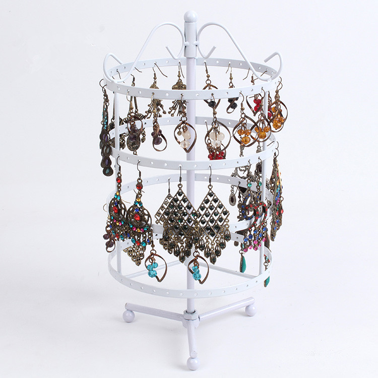 New Hot Sale Fashion 144 Holes White Earrings Jewelry Display Rack Metal Round Revolving Stand Holder