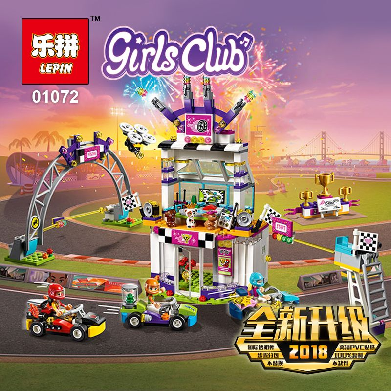 2018 New Lepin 01072 725Pcs Friend Figure The Big Race Day Sets Model Building Kits Blocks Bricks Girl Toy Gift as LegoING 41352 race day grub