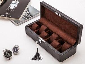 Image 2 - Yao 6 Slots Carbon Fibre Horloge Organisator Lederen Horloge Dozen Case Zwart Display Sieraden Gift Case Met Slot