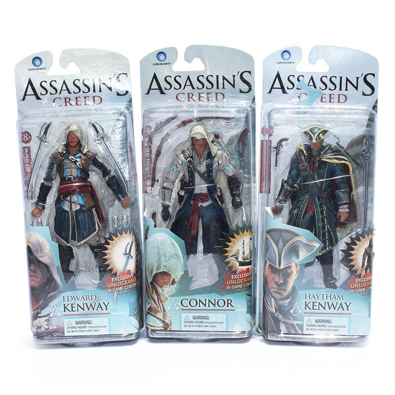 14cm Assassins Creed Figure Toy Black Flag Edward Kenway Haytham Kenway Connor PVC Action Figures Collectible Model Dolls neca planet of the apes gorilla soldier pvc action figure collectible toy 8 20cm