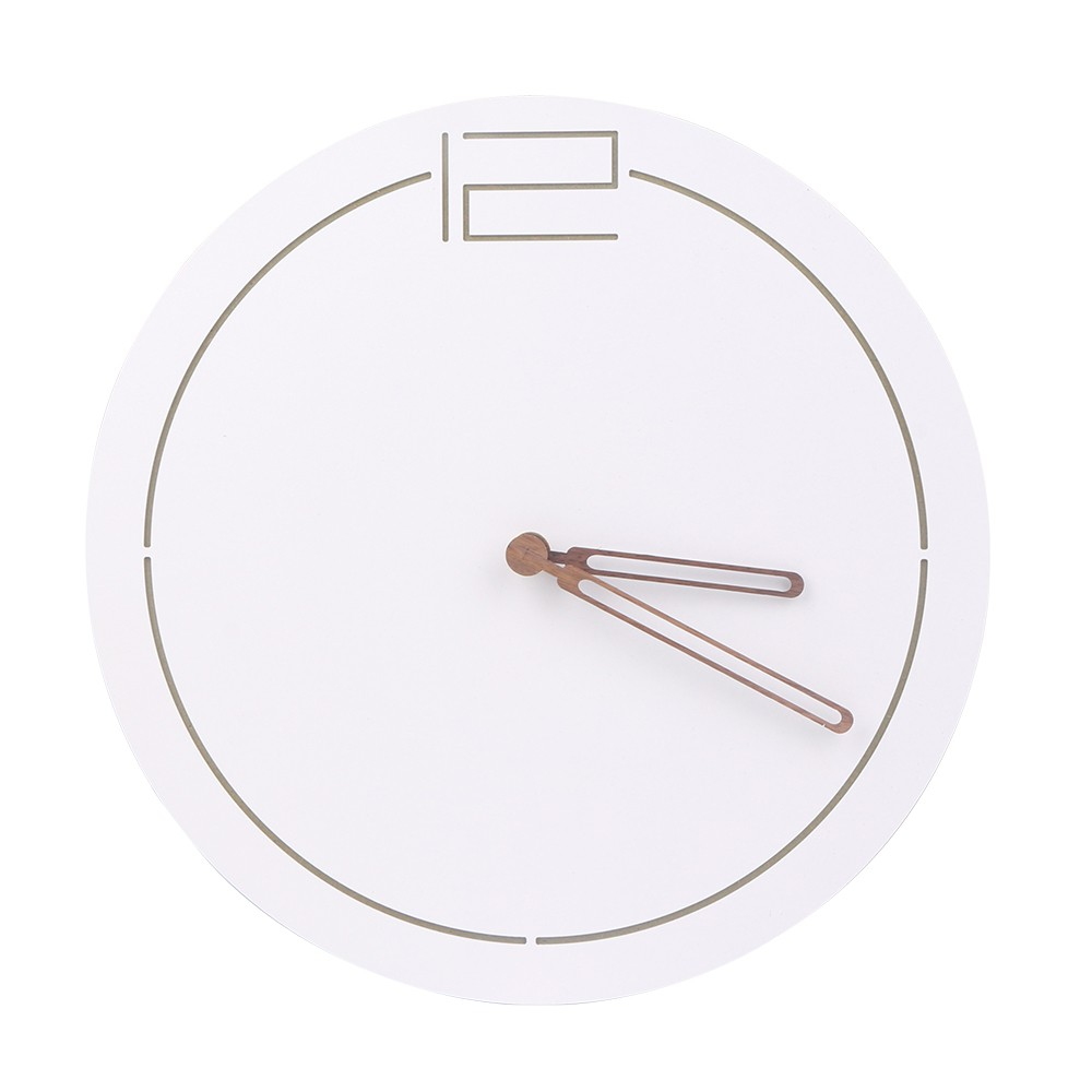 Horloge murale en bois MDF blanc minimaliste de 12 pouces horloge créative numéro de Sculpture horloge d'art décoratif de salon