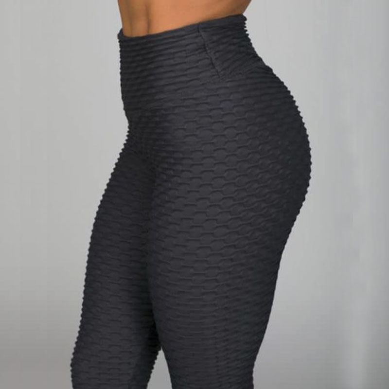 New Fitness Anti Cellulite Texture Leggings Women Pants Solid High Waist Workout Wrinkle Leggings Pants-in Leggings from Women's Clothing