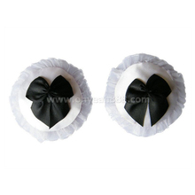 NCW074 Hot sale sexy nipple panties with bowknot erotic lace trim invisible nipple pads fashion reusable bra accessories