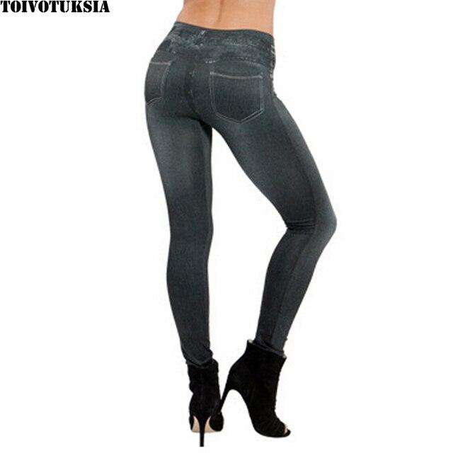 TOIVOTUKSIA Plue Size Women Fleece Lined Winter Jegging Jean Hot Sale Genie Slim Fashion Jeggings Leggings Two Real Pockets 2