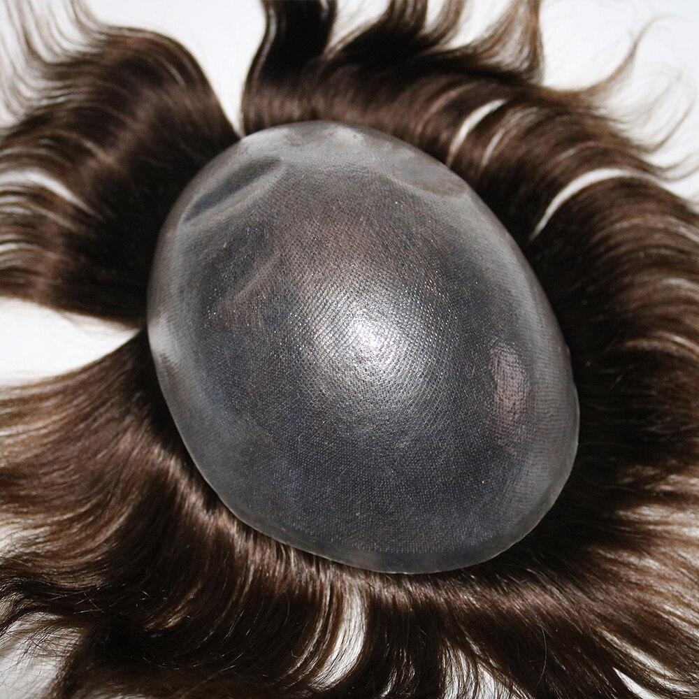 Eversilky Non chirurgico Sistema di 0.08-0.1mm V Anello Capelli Degli Uomini Toupee Pelle Sottile Sistema di Sostituzione Dei Capelli Lisci capelli Mens Parrucche