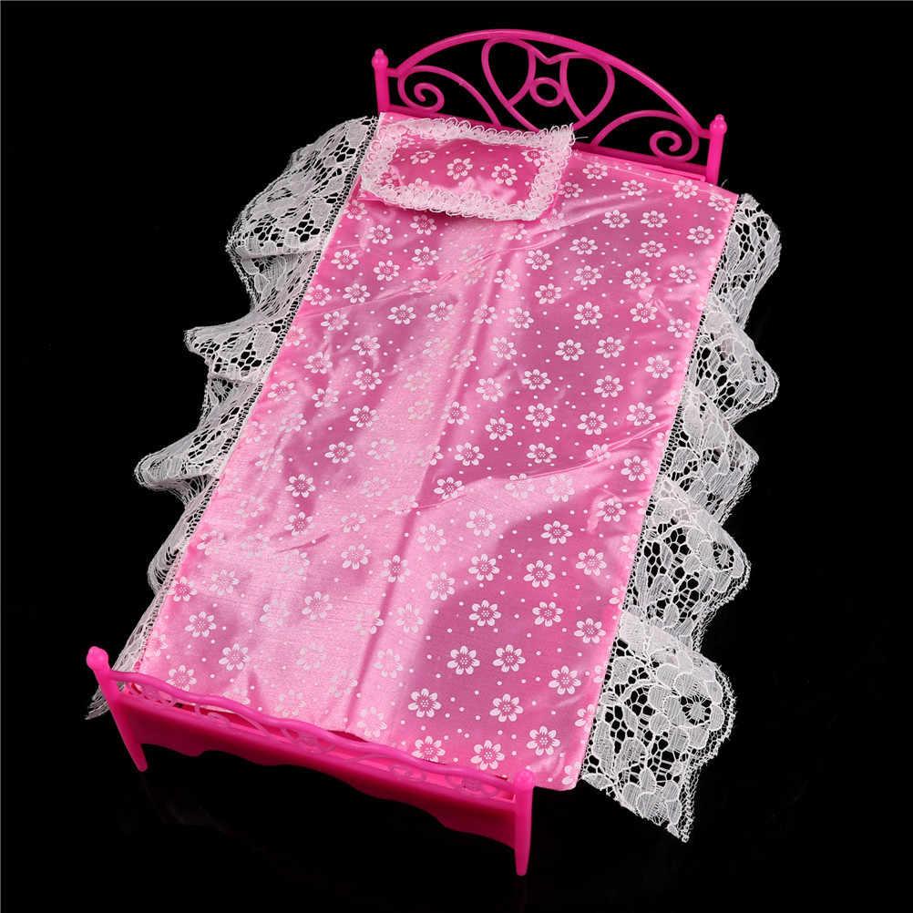 สาววันเกิดของขวัญพลาสติกเฟอร์นิเจอร์ห้องนอนสำหรับตุ๊กตาบาร์บี้ตุ๊กตา House สีชมพูสีสุ่ม