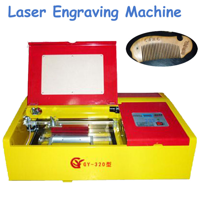 1pc CO2 40W Laser Engraving Machine 220V Cutting Machine Engraver in Yellow Color GY 320D