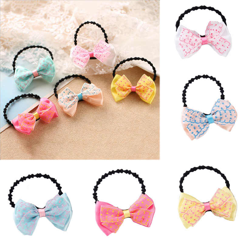 Elastic Hair Bands Polka Dot Cute Bow Ribbon Rabbit Ears Elastic Rubber Bands Hair Rope Girls Scrunchy Accessory for Hair Tie