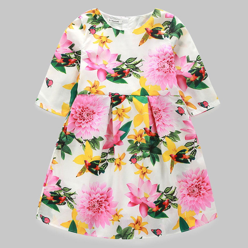 Girls sping Autumn Dress 2016 Brand Baby Girl Clothes Kids Dresses Character Pattern Princess for Children