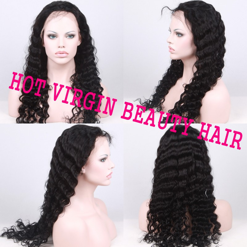 130% Density Brazilian Virgin Hair Deep Wave Lace Front Wigs Glueless Full Lace Wig 8A U Part Human Hair Wigs For Black Women Free Shipping by DHL TNT UPS_conew1