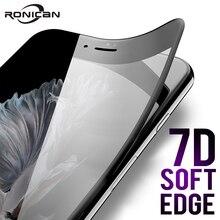 7D フルカバー、湾曲ソフトエッジ強化ガラス iphone 6 6S 7 8 プラス用 × 1 スクリーンプロテクター iPhone 8 7 6 6S X XS カバーガラス