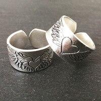 Парные женские мужские кольца подарки на память любовник сердца серебро Резьба Крылья Ангела девушки и мальчики ХХХ античный 004 кольцо