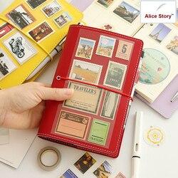 دفتر مذكرات بغلاف من الجلد الصناعي الفاقد من ماكارون a6 دفتر مفكرة ذاتية الصنع مخطط للسفر دفتر مذكرات للطلاب