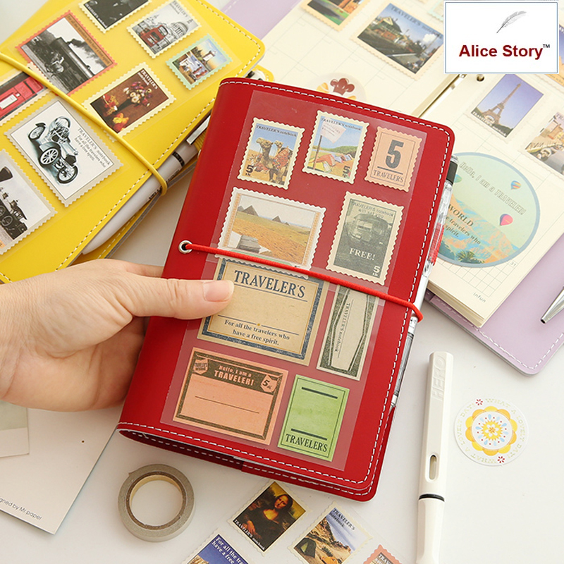 Macaron a6 buku lepas kulit imitasi penutup diary DIY notebook notepad perencana perjalanan jourmal Infun jadwal memo siswa
