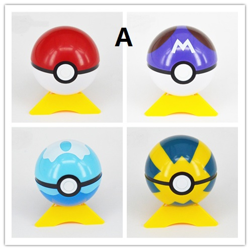 4pcs/lot Pokeball ABS Pikachu Fifures Toy Super Anime Action Figures Ball Toys 7cm 13styles cho pokemon go new pokeball toy 2016 5styles new puzzle 3d miniature building blocks assembled anime abs super master pokemon ball