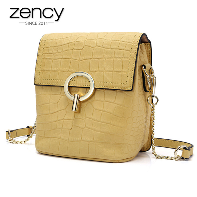 Zency Famous Brand Women Designer Messenger Bag 100 Real Cowhide Leather Crocodile Pattern Print Handbag Luxury