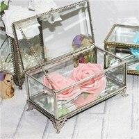 Retro European Jewelry Display Glass Box Super Exquisite Cute Platinum Lace Vintage Jewelry Storage Box