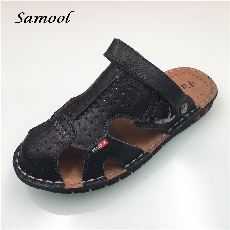 Summer Genuine Leather Mens Flip Flops Beach Sandals For Men Flat Slippers Non-Slip Outside Shales Shoes Sandals zapatos Q3