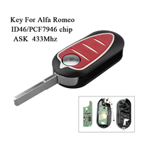 Replacement Folding Remote Key Fob For Alfa Romeo 433Mhz 147 156 166 GT Car Key ID46/PCF7946 Chip 3 Buttons